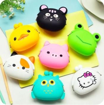 1 PCS Cartoon Animal Candy Color Silicon Coin Case Kitty Cute Mini Bag(China (Mainland))