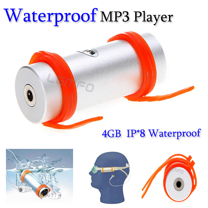 4GB Swimming Diving Water IP*8 Waterproof MP3 Player With FM Radio Earphone Retail Box Wholesales Dropshipping 4 colors(China (Mainland))