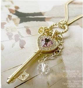 Promotion Elegant Crystal Gold Silver Heart Key Pendant Necklace D3R16C(China (Mainland))