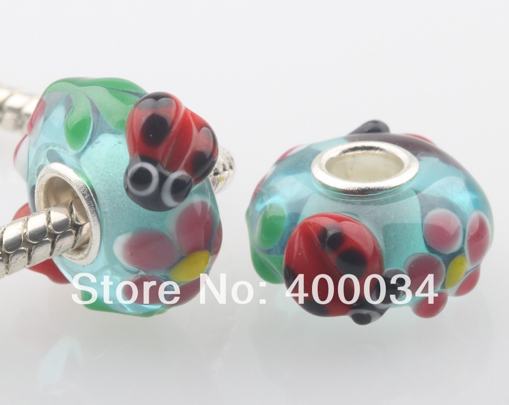 Ladybug & Flower Murano Glass Beads Fit for 3MM European Fashion Jewelry Findings & Components(China (Mainland))