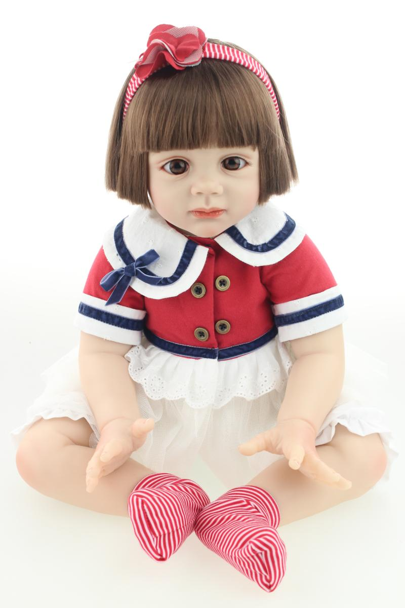 About 60cm Silicone reborn baby dolls high-grade lifelike short hair reborn baby girl Christmas gift brinquedos for kids<br><br>Aliexpress