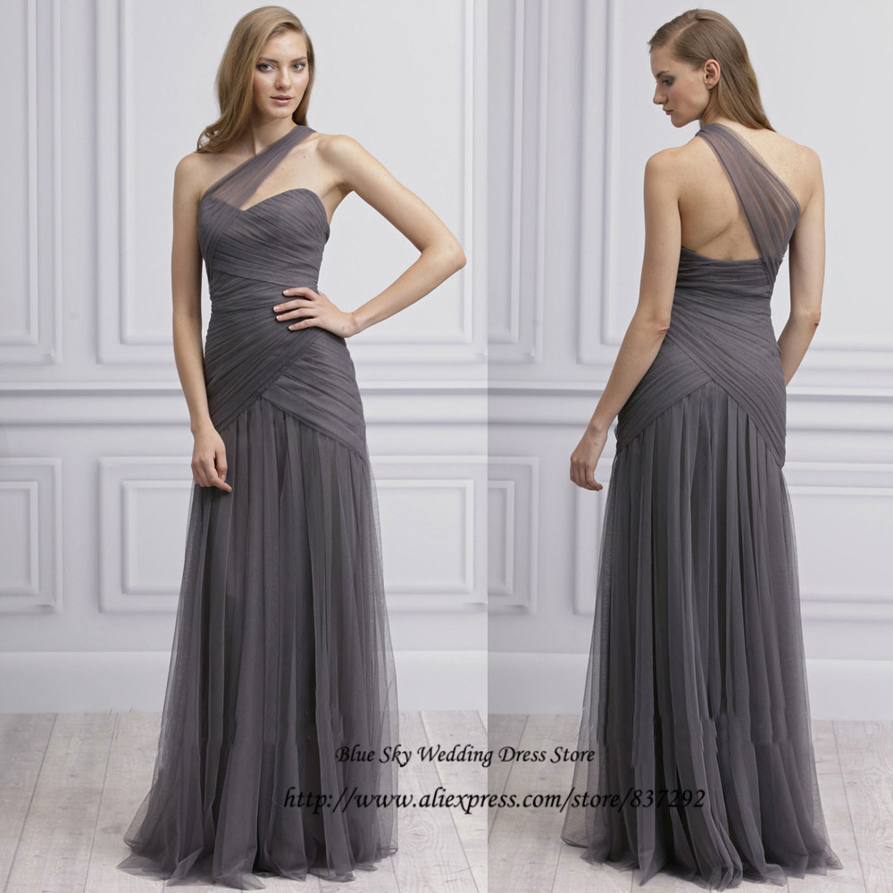 Plus size grey long wedding party dresses one shoulder for Grey dresses for a wedding