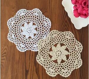 Lovely Handmade Floral Crochet Cotton Doily Bowls Mat Dish Mats Pot holders Coasters Table Mats Green placemat ,10pcs,8inch/20cm(China (Mainland))