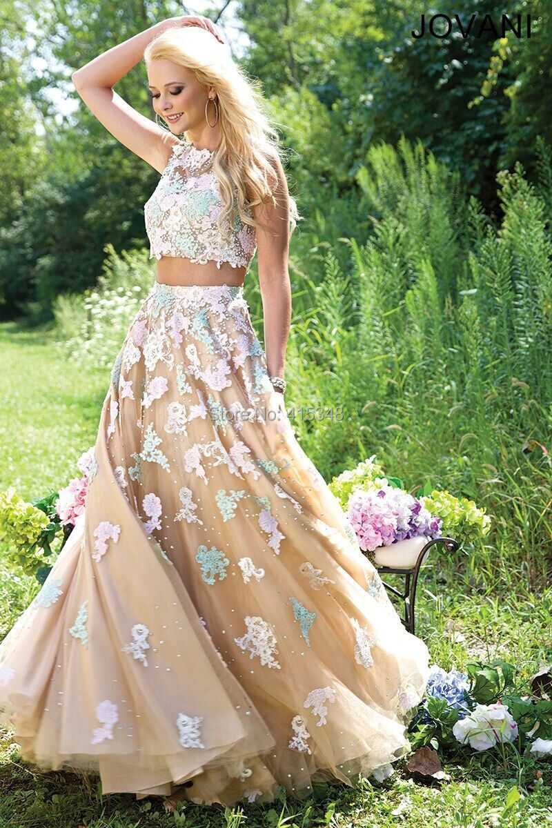 HIgh Ranking Fashion Two Pieces Applique Flowers Sleeveless Evening Prom Formal Dresses Size 2-4-6-8-10-12-14-16 Custom Made - NewDeve Wedding Dress Factory store