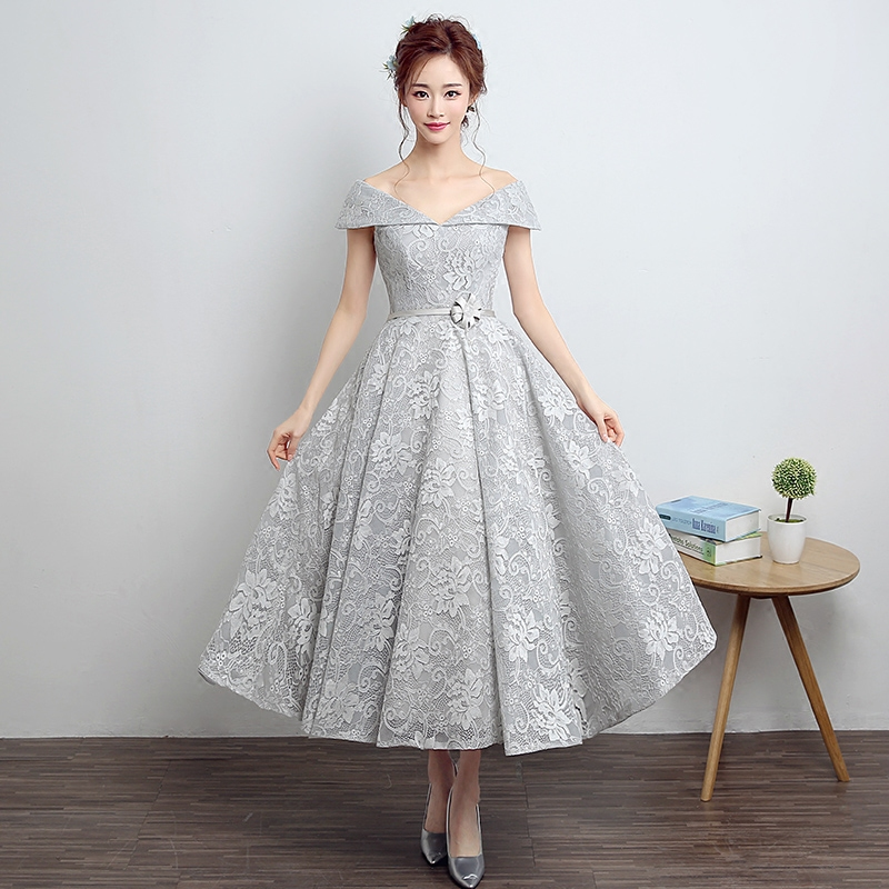 Sexy And Elegant Square Collar Silver Gray Lace Evening Dress Long 2016 New Arrival Woman Formal Dresses(China (Mainland))