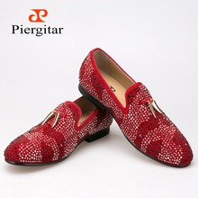 New red and black suede men shoe with gold tassel and exquisite crystal men wedding and party loafers men dress shoes men's flat