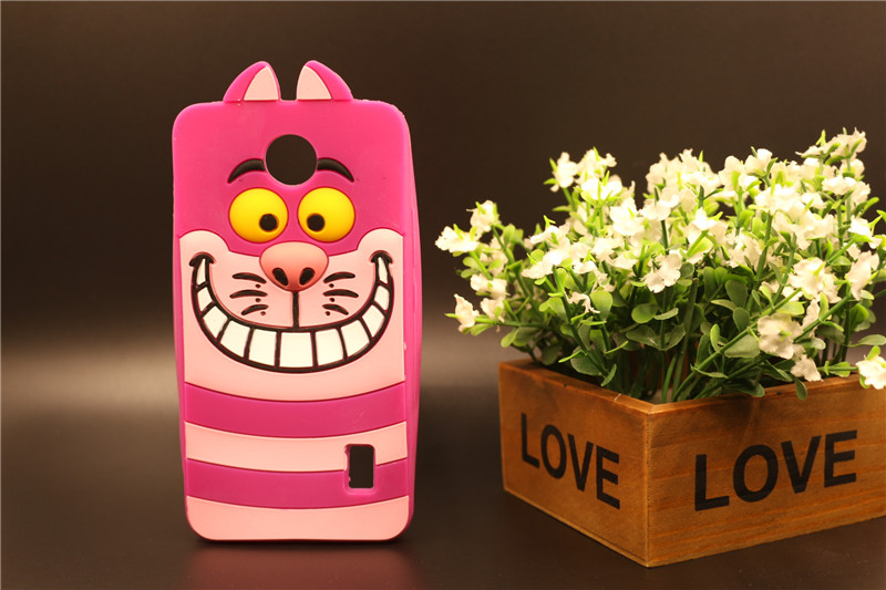 Case For Huawei Ascend Y635 Lovely 3D Cartoon Animal Rose Cat Shape Soft Silicon Rubber Back For Huawei Y635 Cover Free Shipping(China (Mainland))
