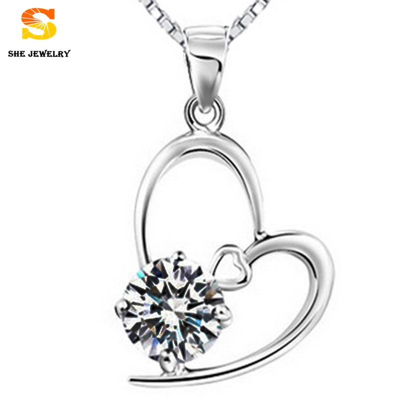 2015 kawaii miniature Heart Pendant Amethyst Crystal Romantic Love Fine Jewelry 925 Sterling Silver Pendant For Women(China (Mainland))
