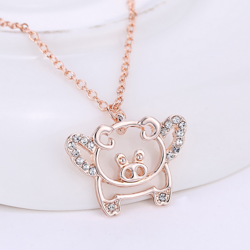 Rose Gold Plated flying pigs necklaces cute crystal luck pendant necklaces for women(China (Mainland))
