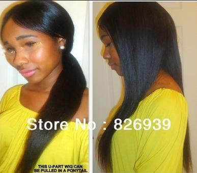 Beautiful Fashion Brazilian Unprocessed Virgin Human Hair U Part Wig All length,silky straight  free shipping