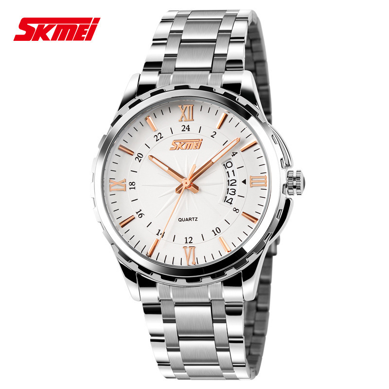TOP Fashion Quartz Watch Skmei Stainless Steel Watches Men Luxury Brand 3TM Waterproof Relogio Masculino men