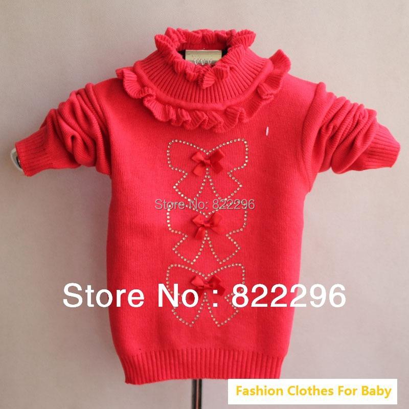 Baby Girl Fall Bowknot Sweater/ Children girl sweater Autumn/Winter baby sweater cartoon Knitted Top(China (Mainland))