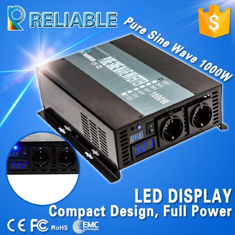 LED display 1000w Full Output generator Pure Sine Wave Inverter Solar Power inverter 12v 220v DC to AC converter home inverter(China (Mainland))