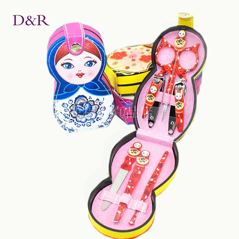 6 pcs Manicure & Pedicure Set Cute Nail Clippers Scissors Grooming Tools Ear Pick Tweezers Russian Doll Nail Care Tool Set(China (Mainland))
