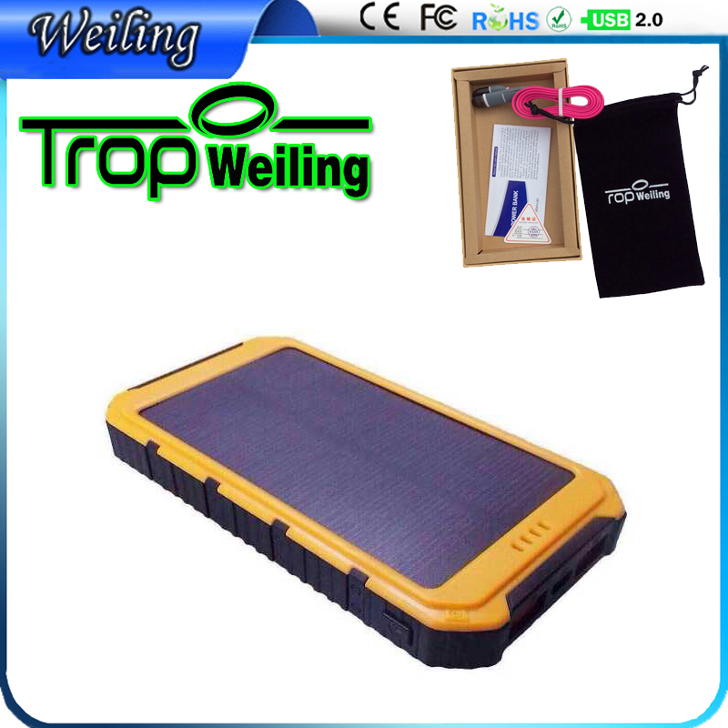 Weiling OEM mobile charger 20000mah power bank diy solar powerbank 18650 for iphone 6 s /all phones/IPAD cargador movil