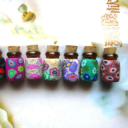 0.5ml fimo essential oil glass bottle, Handmade Aroma Essential Perfume Oil Bottle,Necklace Pendants(China (Mainland))