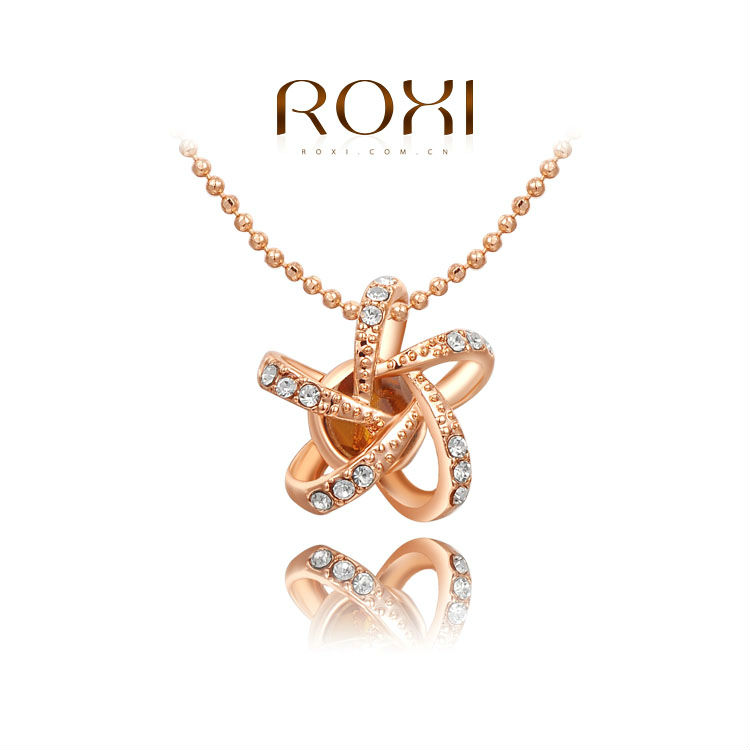 ROXI New Year Gift Classic PENDANT Fashion Rose Gold Plated Link Chain Calabash Sales Lucky NECKLACE for Women Christmas Gift(China (Mainland))