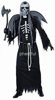 Оптовая продажа - горячая распродажа Новый стиль хэллоуин косплей костюм ну вечеринку одежда для взрослого человека трикотажные черные с капюшоном халат череп costu