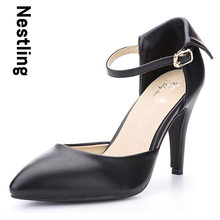 New 2015 pointed toe ankle-strap summer style women pumps soft leather women high heels sandals shoes woman D45