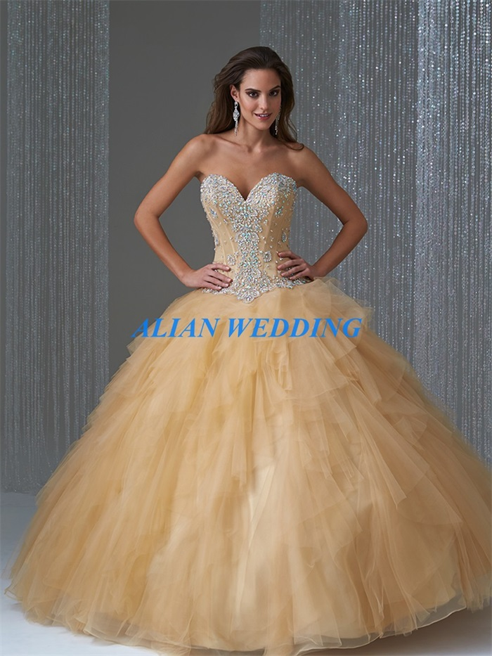 High Quality Gold Ball Gown Dresses-Buy Cheap Gold Ball Gown ...