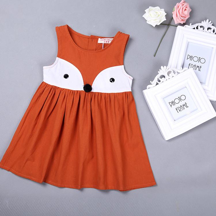 2016 New Baby Girl Summer Dress Korean Girls' Cotton Vest Dress Cartoon Fox Children Cute Dresses Clothing(China (Mainland))