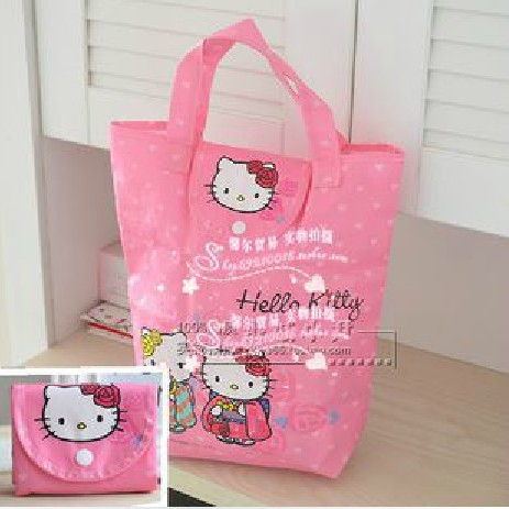 Cute Helloy Kitty non-woven fabric foldable Eco-friendly reusable handle shopping bag - Most Economic shop store