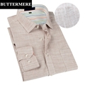 BUTTERMERE Brand Clothing Mens Shirts Flax Linen Dresses Shirt Long Sleeve Double Collar Slim Mens European
