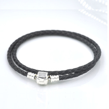 Authentic 925 Sterling Silver Clasp Bead Original Stamp Woven Leather Bracelet Fits Pandora Charms Bracelet DIY Fashion Jewelry(China (Mainland))