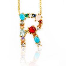 Nhiều màu thời trang Charm Vàng 26 Bảng Chữ Cái Mặt dây chuyền vòng cổ Micro Pave zircon ban đầu chữ cổ Cặp Đôi Tên Vòng c(China)