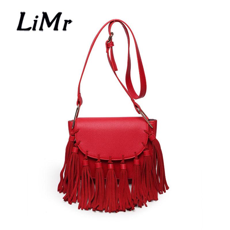 LiMr Tassels Bags New Korean Fashion Genuine Leather Lady Shoulder Bag Solid Fringed Diagonal Leather Women Messenger Bags Bolsa