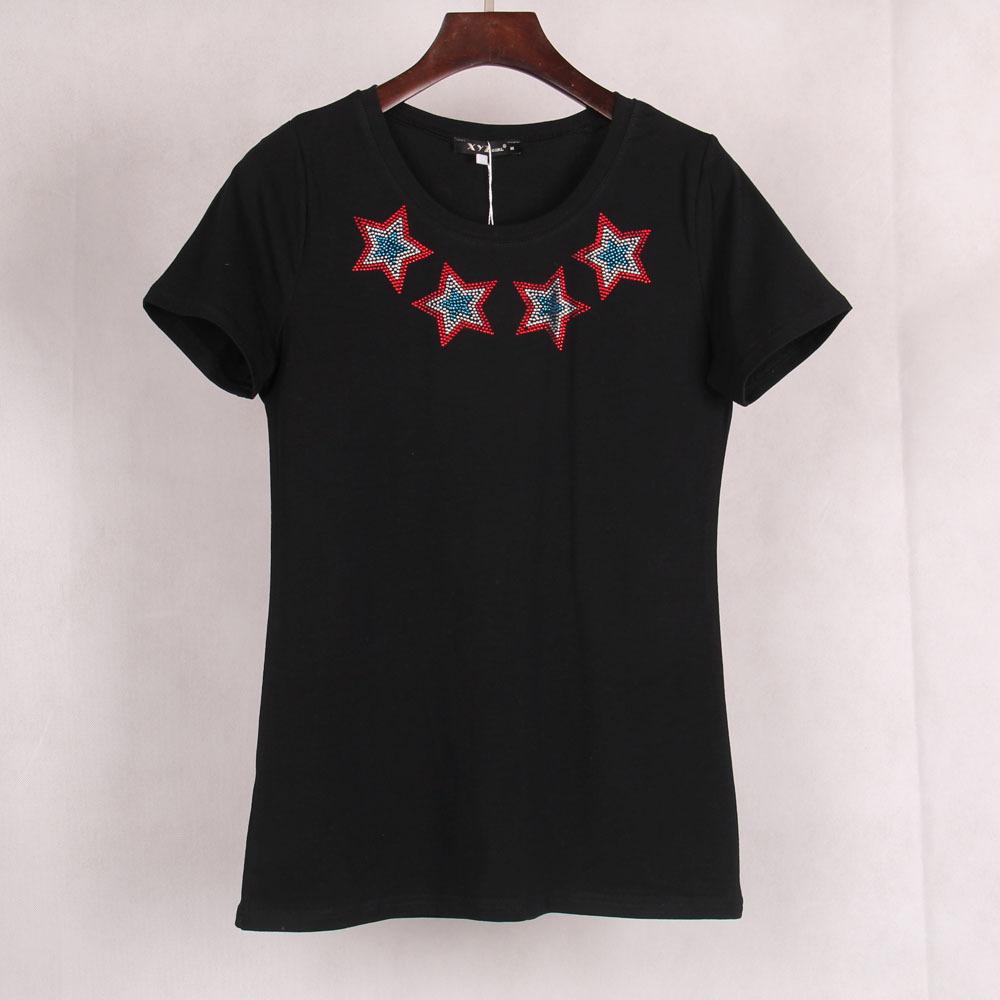 2015 Punk Rock Brand Summer Women's T-shirt Tops Tees Stars Printed & Jewel Embedded T shirt Short Sleeve Cropped Women - Veyron Clothing Co., Ltd store