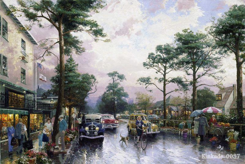 Thomas Kinkade Carmel Ocean Avenue On A Rainy Afternoon Classic wholesale high quality painting free shipping pophuge(China (Mainland))