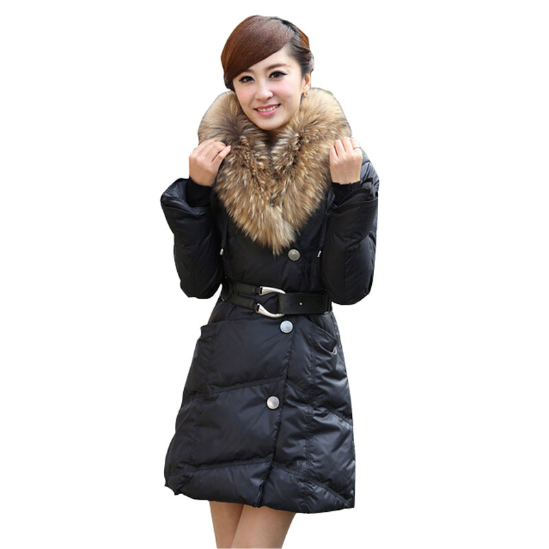 Brand New 2015 Fashion Casual Winter Women's Coats Big Fur Collar Hooded Slim Coat Women White Duck Down Warm Parka Jackets