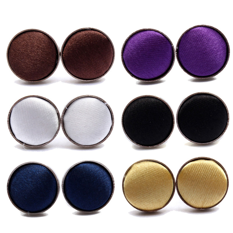 Wholesales 1Pair Mens Dress Round Cloth Cufflinks Button For Business Shirt Wedding Party 6Colors Free Shipping(China (Mainland))