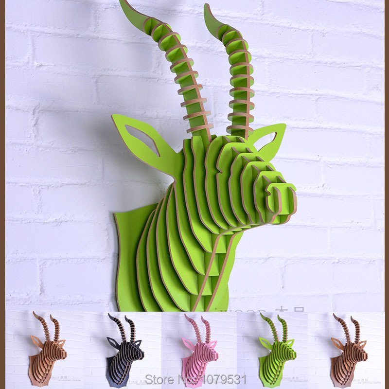 Antelope Head,Wooden Christmas Decorations,Wall Art Diy Wooden Craft Wall Decor Wall Stickers Home Decor,Wood Animal(China (Mainland))