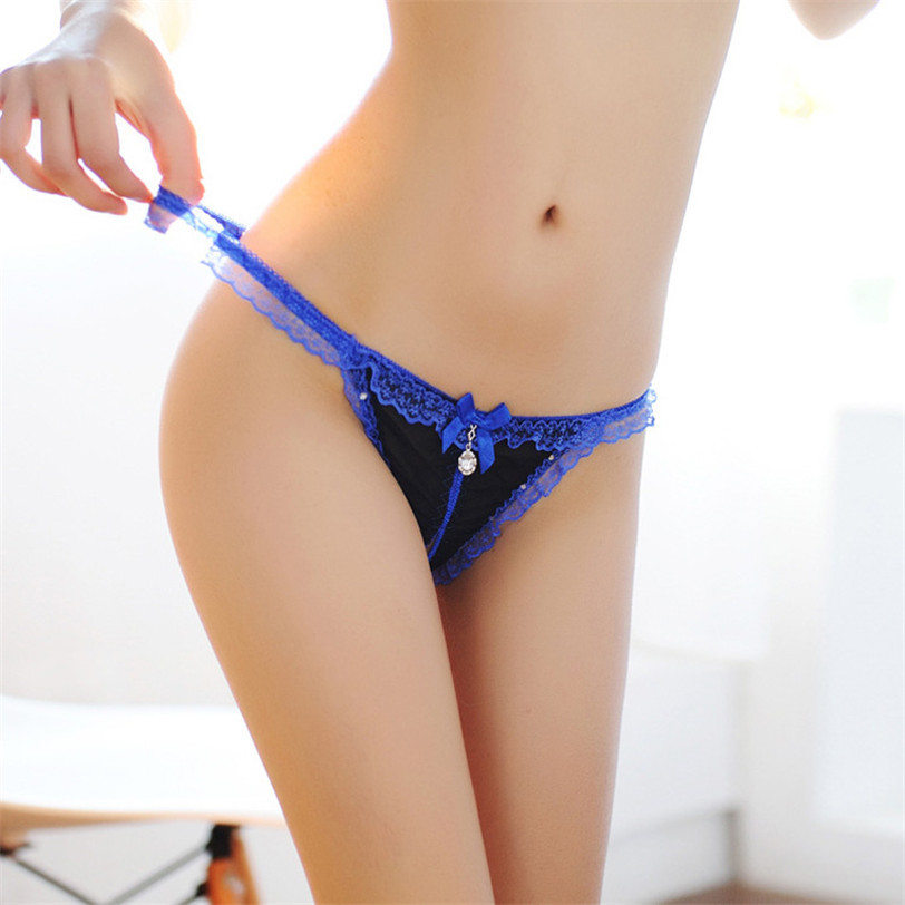 Best seller Women sexy panties Female Perspective Diamond Lace Underwear Low Rise Thong Nightwear Erotic pants clothes jul 07(China (Mainland))