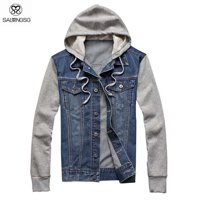 men jean jacket long sleeve autumn winter windbreaker with hoody