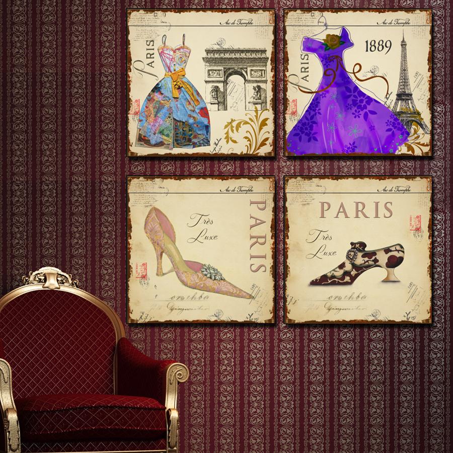 Paris fashion show art painting canvas 4 piece wall art decor beauty salon mo - Salon decoration paris ...