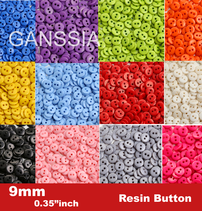 9mm Candy colors fashion resin buttons for craft Bulk buttons for garments Sewing accessories(SS-673)(China (Mainland))