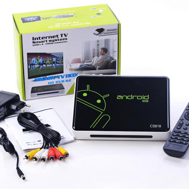 Satellite Receiver CS818 Android4.0 TV Box AML8726-M3 Chipset 1GB Ram 4GB Rom Wireless Remote control Media Player(China (Mainland))