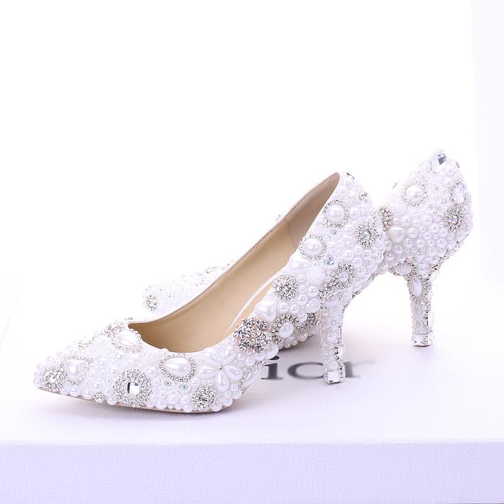 2015 new beautiful handmade white pearls wedding shoes