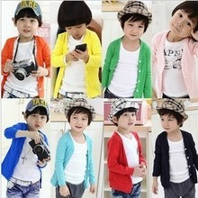 2015 Hot & new Autumn Spring cotton kids sweater candy-colored cardigan boys girls cardigan children outwear(China (Mainland))
