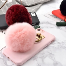Retro fashion candy soft shell soft TPU mobile phone shell For Apple iPhone 6 7 6 Plus 7 Plus copper ring fringed hair ball pen(China (Mainland))