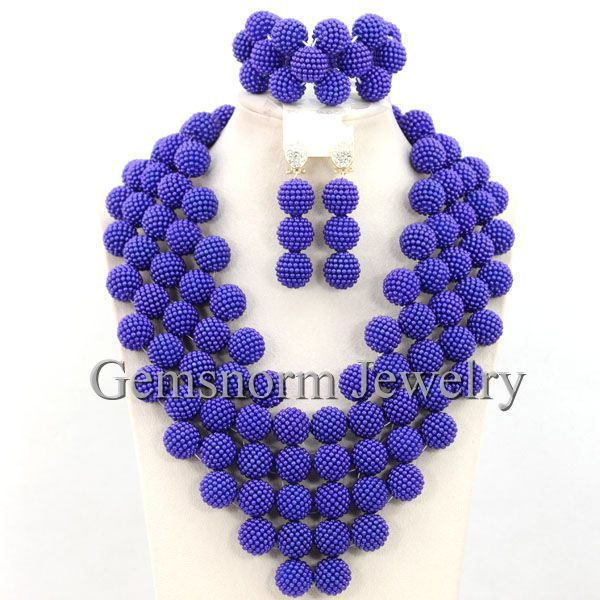 Royal Blue Chunky Statement Necklace Set 2016 New Design African Wedding Beads Bib Necklace Jewelry Set Free Shipping WB481(China (Mainland))