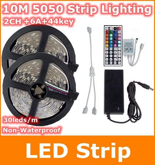5050 RGB led strip 10M 30leds/m flexible Strip Lighting +44key ir remote controller +DC12V 6A AU/EU/UK Power Adapter - Tomtop supermarket store
