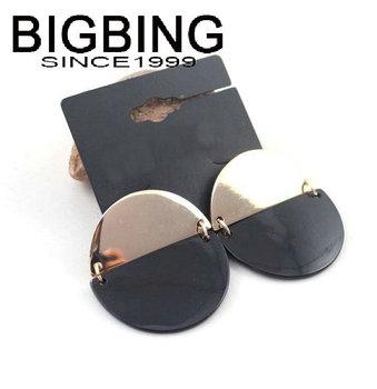 Bigbing мода золотой черный круглый серьги стад серьги мода серьги мода ювелирные изделия никель бесплатно бесплатная доставка! j1000