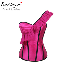 Burvogue new sexy woman tops evening party corset top zipper bustiers with straps pink prom top corset cropped bustier S-2XL(China (Mainland))