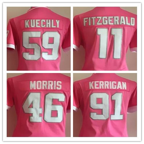 Women Pink Bubble Gum Football Jersey 46 Alfred Morris 91 Ryan Kerrigan 59 Luke Kuechly 11 Larry Fitzgerald Football Jersey(China (Mainland))