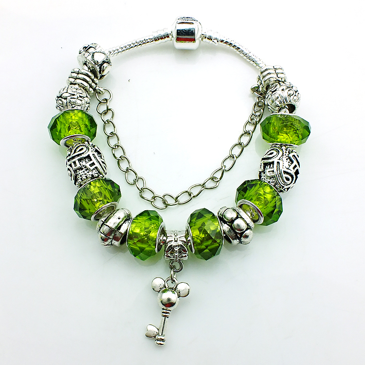 Newest Arrival Alloy Key Charm Bracelet For Women Silver Plated Murano Glass Beads European Brand Bracelets Jewelry(China (Mainland))