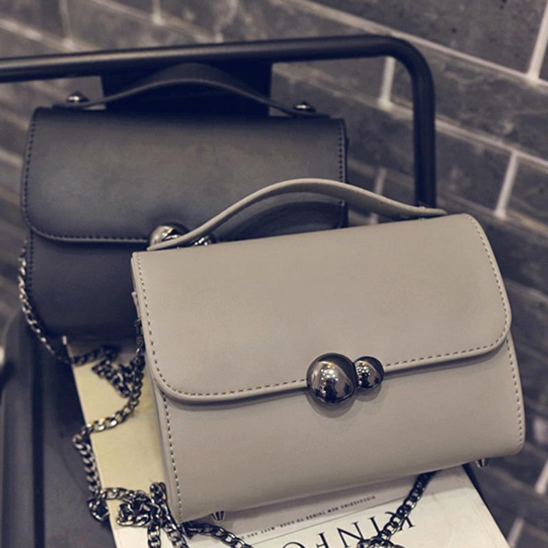2016 new Handbag Shoulder Bag Messenger Bag square bag women bag chain lock fashion cortex Pu fabric leisure black grey(China (Mainland))